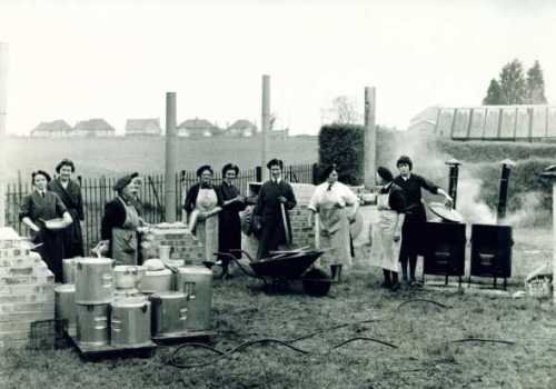 Civil Defence Corps cooking exercise in the mid-1960s using Soyer boilers and improvised ovens