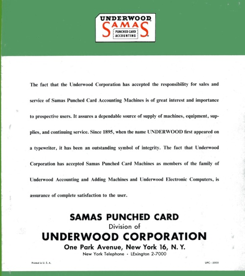 Underwood Samas Punched Card Brochure 08