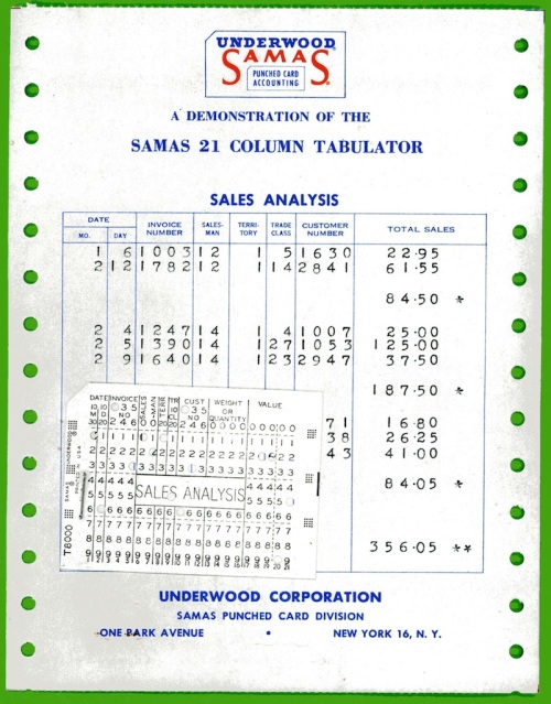 Underwood Samas Punched Card Brochure 10