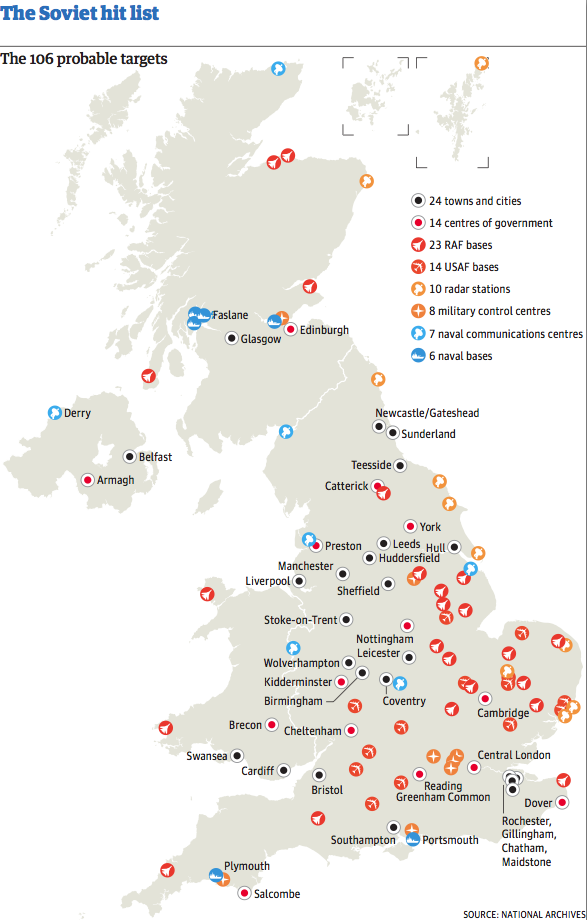Air Force Bases In England Map.Map Of Cold War Targets In The Uk Calculating