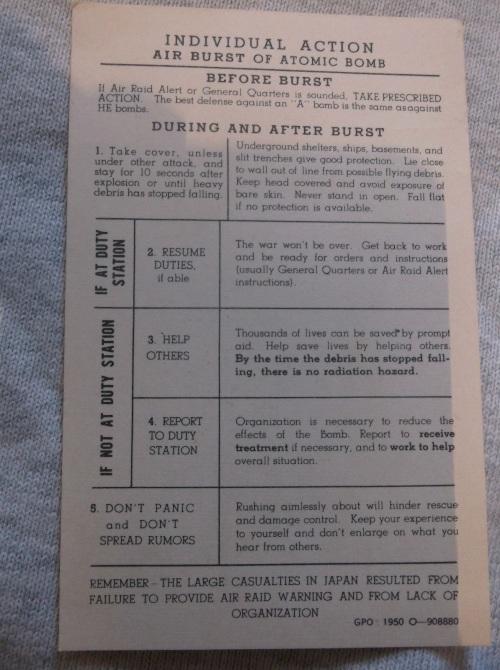 Instruction Card Air Burst Effects c1950 1
