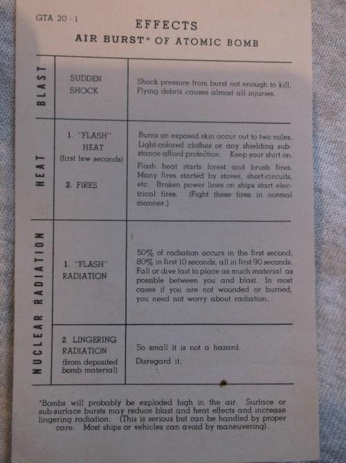 Instruction Card Air Burst Effects c1950 2