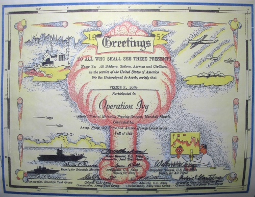 Operation Ivy Nuclear Test Certificate 1952