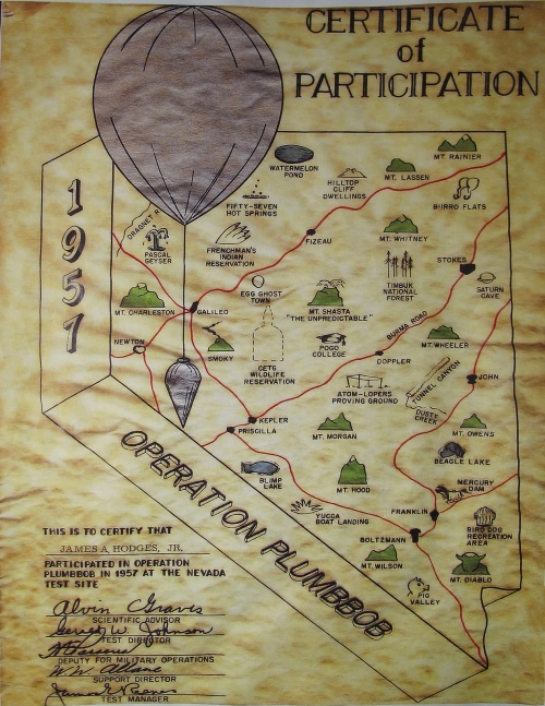 Operation Plumbbob Nuclear Test Certificate 1957